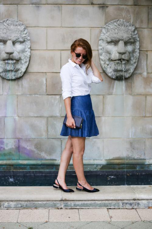 anthropologie tiered denim mini skirt on design darling