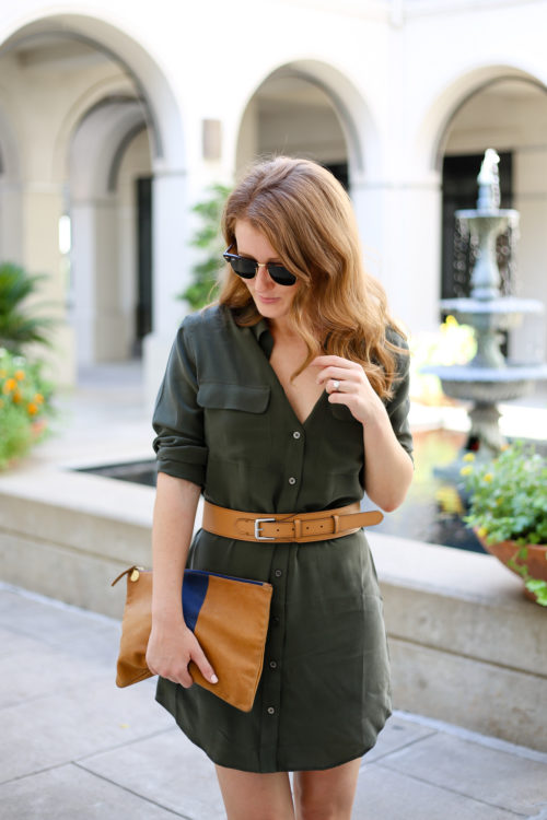 army-green-shirtdress-with-equestrian-leather-belt-and-clare-v-flat-clutch-on-design-darling