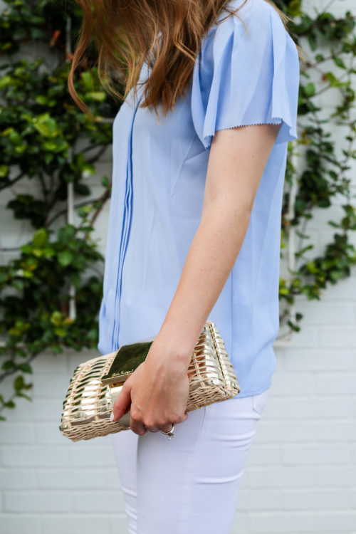 banana republic flutter sleeve top with lilly gold clutch on design darling