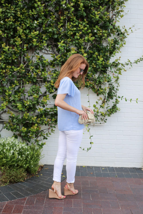 design darling banana republic pale blue flutter sleeve top with white jeans and nude wedges