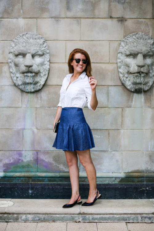 design darling wears an anthropologie drop waist denim skirt