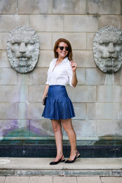 design darling wears an anthropologie drop waist denim skirt