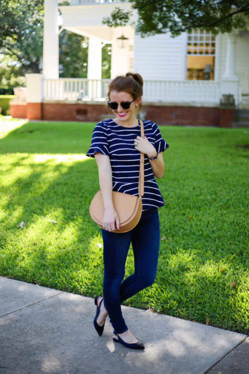 j-crew-structure-peplum-top-in-stripe-and-cuyana-saddle-bag-in-vachetta-on-design-darling