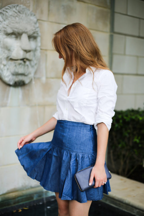 j.crew white perfect shirt and anthropologie tiered denim mini skirt on design darling