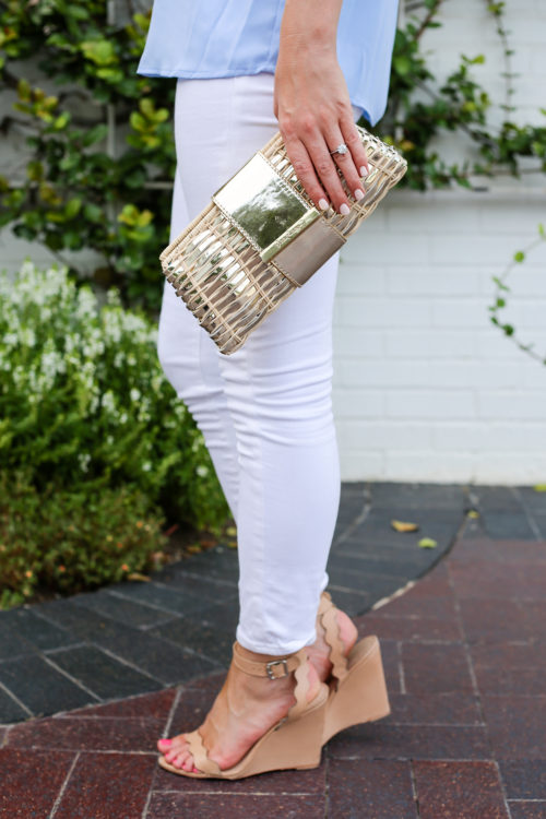 lilly pulitzer gold clutch and loeffler randall piper wedges on design darling
