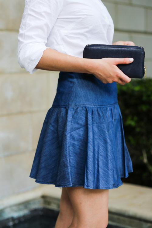 navy cuyana wallet anthropologie denim skirt on design darling