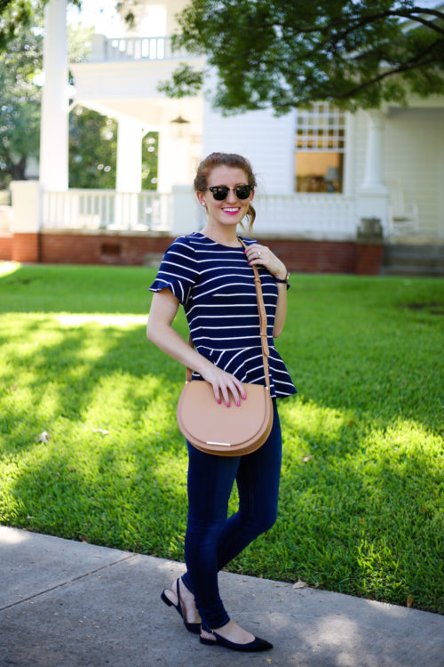 ray-ban-clubmasters-nars-schiap-j-crew-striped-peplum-top-and-cuyana-saddle-bag-on-design-darling