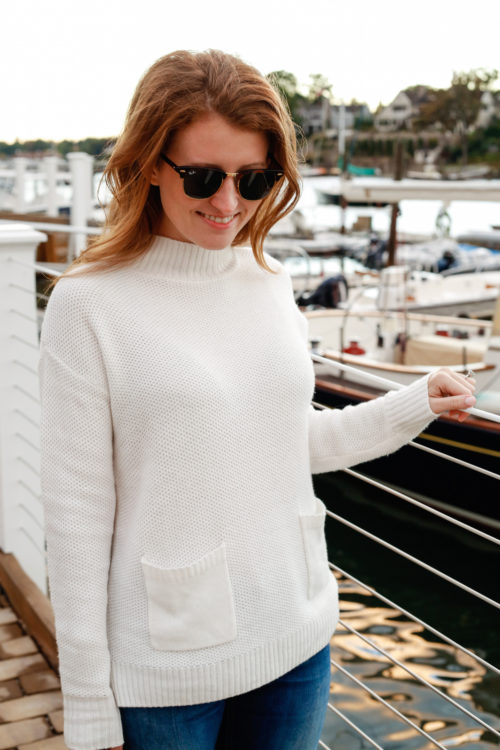 design-darling-in-rayban-clubmasters-and-nordstrom-halogen-pocket-sweater