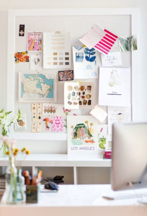 inspiration bulletin board with white frame