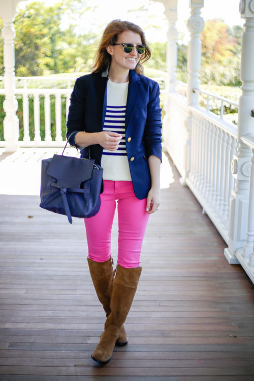navy-blazer-striped-sweater-hot-pink-jeans-and-tory-burch-riding-boots-on-design-darling