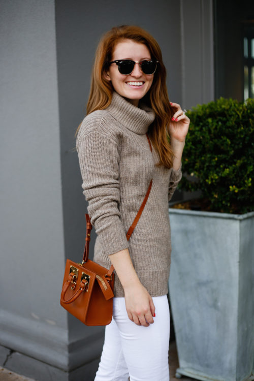 tan-turtleneck-sweater-brown-crossbody-bag-and-white-jeans