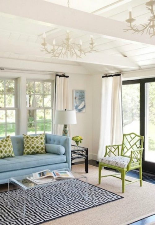 white-curtains-with-navy-trim-greek-key-rug-green-chippendale-chair