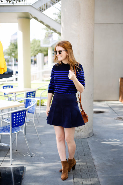bloomingdales-striped-gold-button-sweater-bb-dakota-navy-suede-skirt-and-sam-edelman-suede-booties