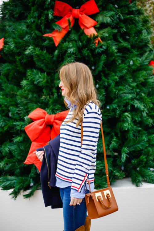 j-crew-navy-and-red-striped-shirt-with-sophie-hulme-box-bag