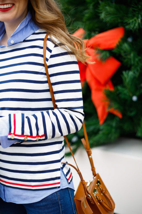 j-crew-striped-shirt-with-navy-and-red-trim-with-sophie-hulme-box-bag