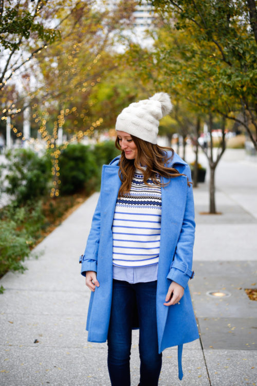 j-crew-wool-trench-coat-with-faux-fur-pom-pom-beanie-and-fair-isle-sweater