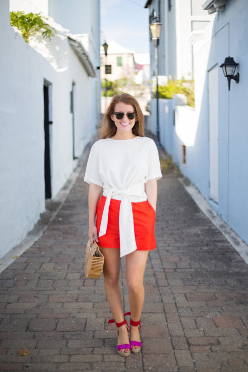 pink-and-red-outfit-on-design-darling-featuring-club-monaco-telaim-bow-top-draper-james-red-shorts-cult-gaia-ark-bag-and-loeffler-randall-pink-and-red-harper-espadrilles
