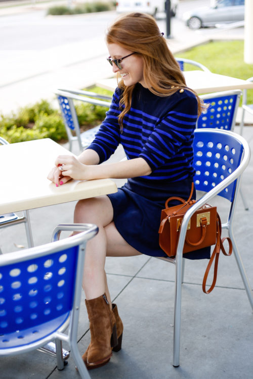 striped-gold-button-sweater-and-navy-suede-skirt-on-design-darling