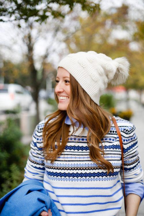 white-faux-fur-pom-pom-beanie-with-j-crew-fair-isle-sweater