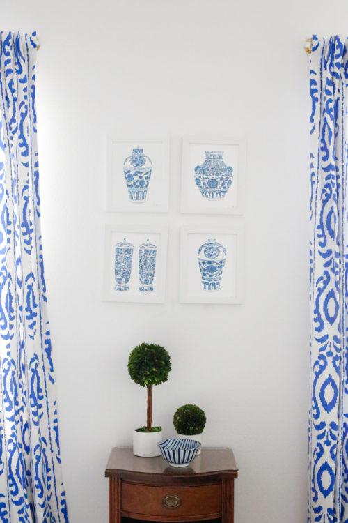 design-darling-lucite-curtain-rods-blue-ikat-drapes-ginger-jar-prints