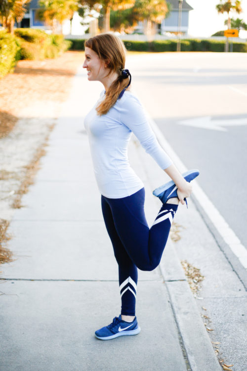 design darling wearing tory sport leggings
