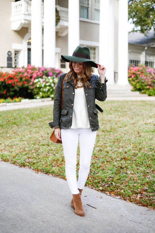 green-hat-j-crew-field-jacket-white-jeans-and-sam-edelman-booties-on-design-darling