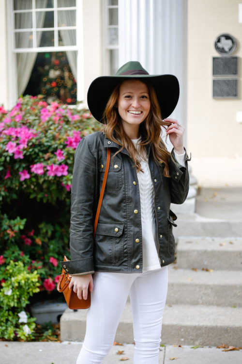 green-hat-with-j-crew-field-jacket-and-white-jeans