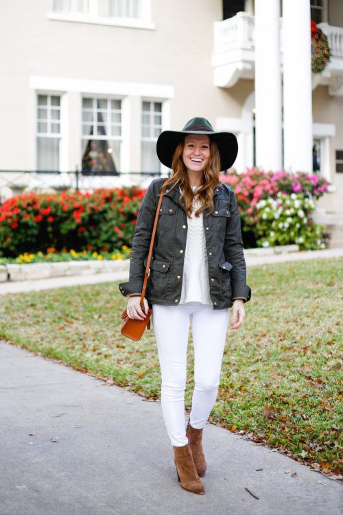 j-crew-downtown-field-jacket-with-white-jeans-and-suede-booties