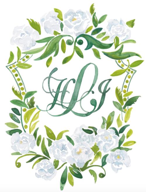 kearsley lloyd watercolor wedding crest