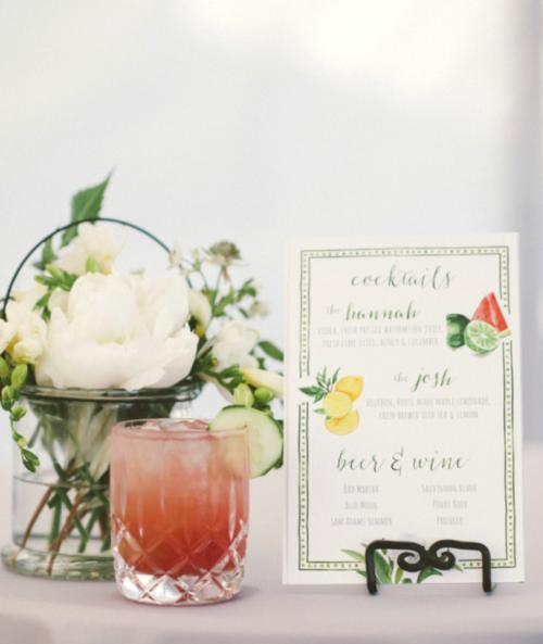 watercolor cocktail menu at wedding cocktail hour by kearsley lloyd