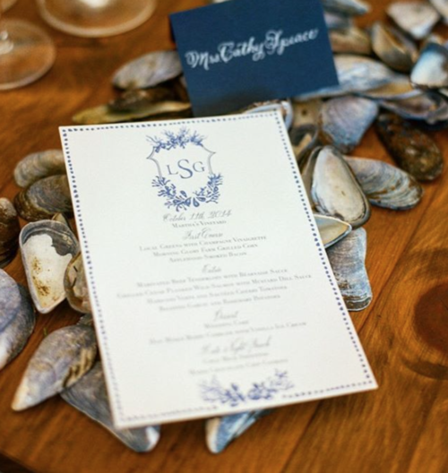 watercolor crest on wedding menus by kearsley lloyd