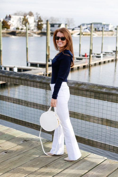 banana republic white sailor jeans and clare vivier white alistair circle bag on design darling