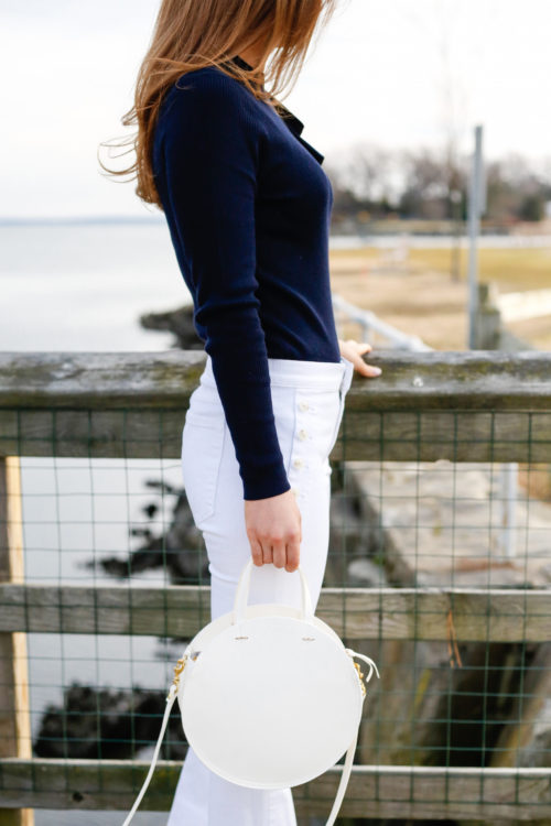 banana republic white sailor jeans with clare v white alistair bag on design darling