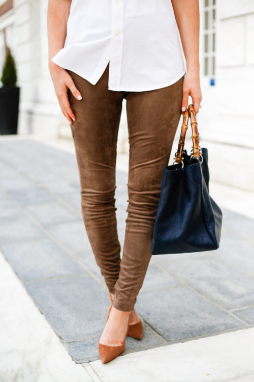 bb dakota faux suede leggings and manolo blahnik bb pumps