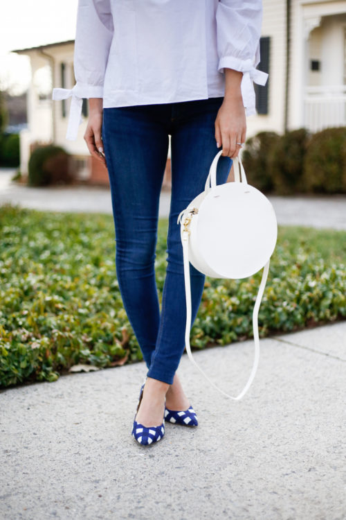 clare v alistair bag and banana republic gingham heels on design darling
