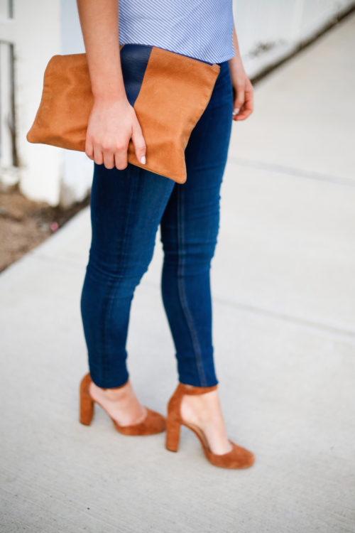 clare v flat clutch with navy stripe and vince camuto shaytel pumps