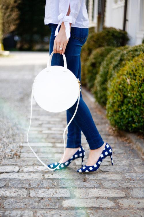 clare v white circle bag and banana republic gingham heels
