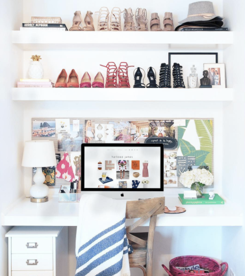 domino home office with shoe shelves