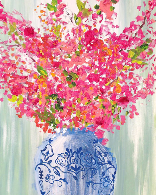 flowers in blue and white ginger jar art print