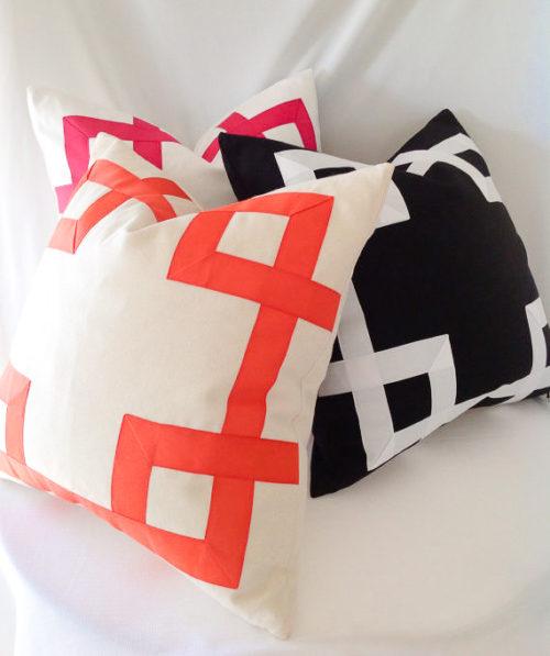 grosgrain ribbon fretwork pillow on etsy