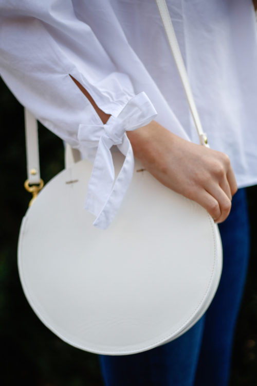 madewell tie sleeve blouse and clare v alistair bag