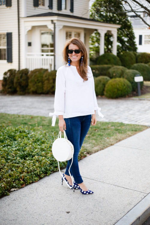 madewell tie sleeve blouse clare v alistair bag and banana republic gingham heels