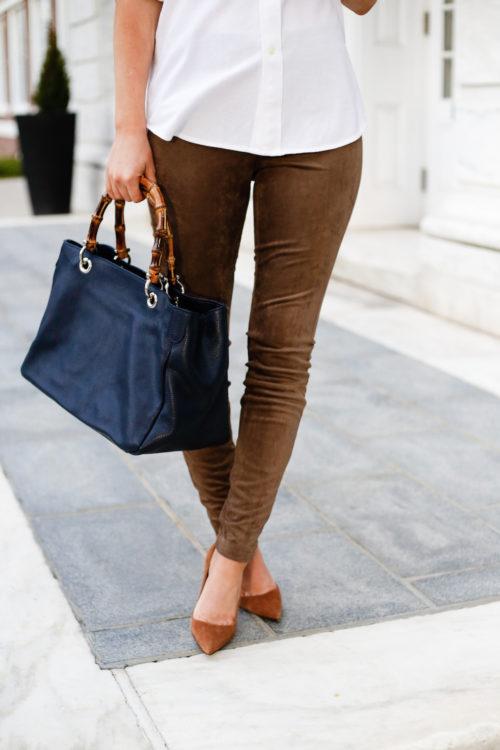 mark and graham bamboo bag and bb dakota faux suede leggings on design darling