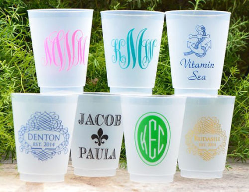 monogrammed frosted cups