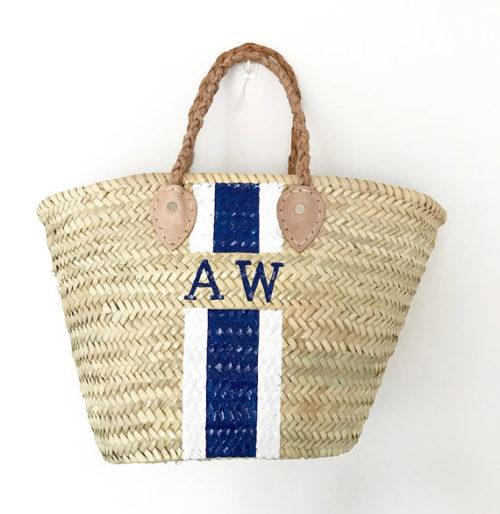 monogrammed straw bag
