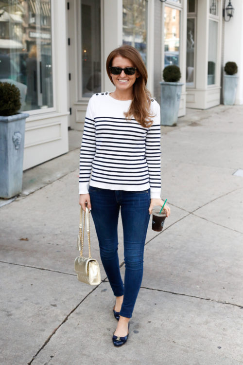petit bateau striped sweater and ferragamo flats on design darling
