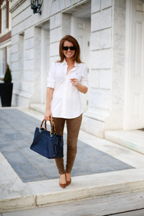 ralph lauren knit oxford bb dakota suede leggings mark and graham bamboo bag equestrian inspired outfit on design darling