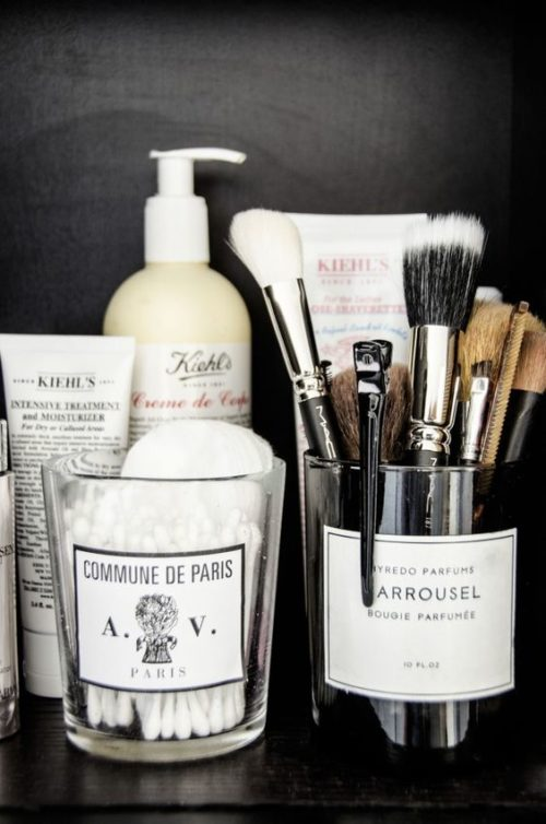 repurpose old candle to store makeup brushes