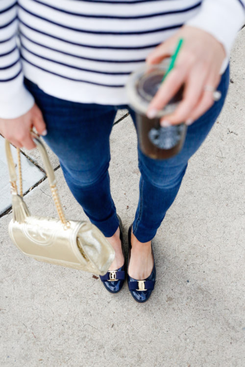 skinny jeans and ferragamo flats on design darling