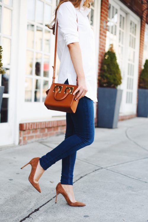sophie hulme albion box tote bag and manolo blahnik bb pumps in tan suede on design darling